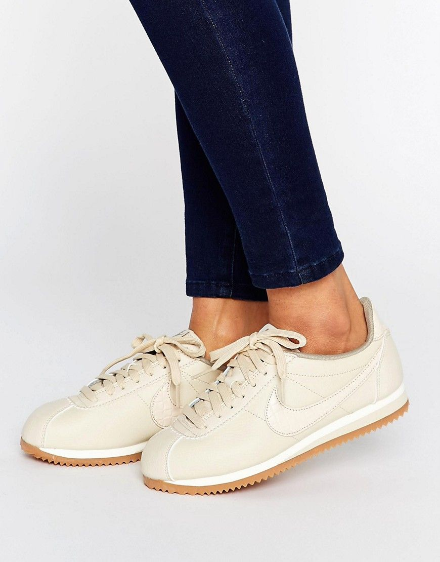 Nike Cortez Premium Trainers In Oatmeal. Find this Pin and more ...