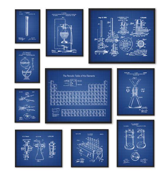 Chemistry art print set of 10 periodic table of elements vintage chemistry art print set of 10 periodic table of elements vintage chemistry patent laboratory equipment chemistry student teacher gift urtaz Gallery