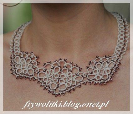koronkowy naszyjnik szaro-fioletowy - Frywolitki, biżuteria i nie tylko…