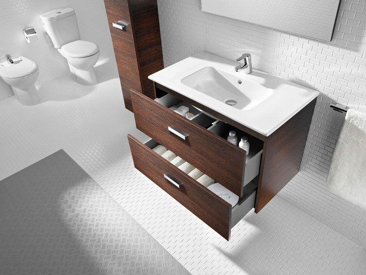 Muebles y armarios de baño Victoria Basic de Roca en blanco, nogal y ...