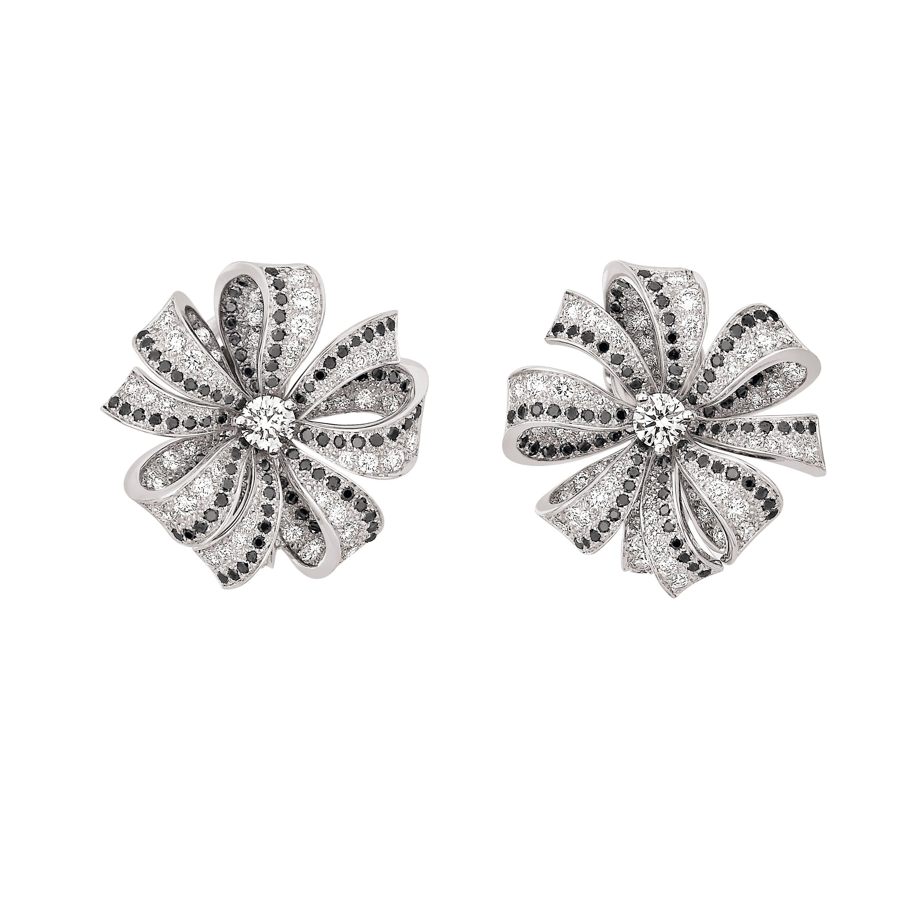 Chanel White Gold Earrings Set With And Black Brilliant Cut Diamonds Camélia Brodé Collection