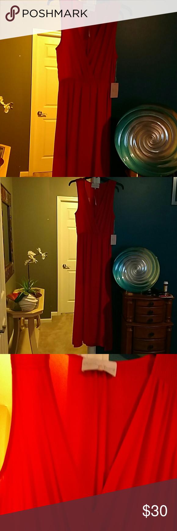 Charles Henry orange maxi dress NWT sheer plunging neck line / gorgeous on Charles Henry   Dresses Maxi