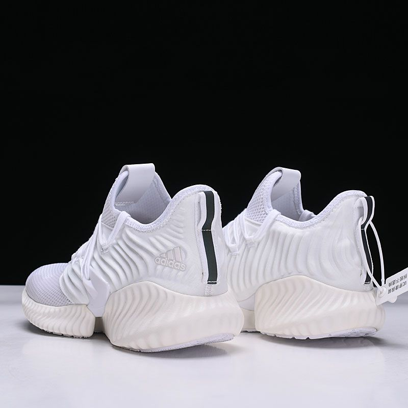 premium selection c1671 e2dc3 Mens and Womens Adidas AlphaBounce All White D97278 Running Shoes-5