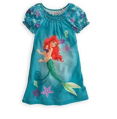 Disney Store Princess The Little Mermaid Ariel Nightgown Pajama Girl 4 5//6