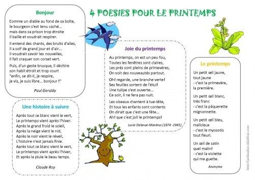 Poesies Sur Le Printemps Poesie Printemps Poesie Printemps