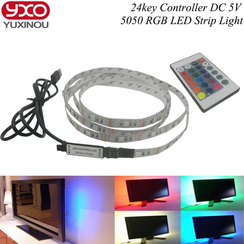Tv Background Lighting Dc5v Usb Led Strip 5050 Rgb Christmas Desk Decor Lamp With 24key Rf Controller 50cm 1m 2m 3m 4m 5m Set With Images Rgb Led Strip Lights