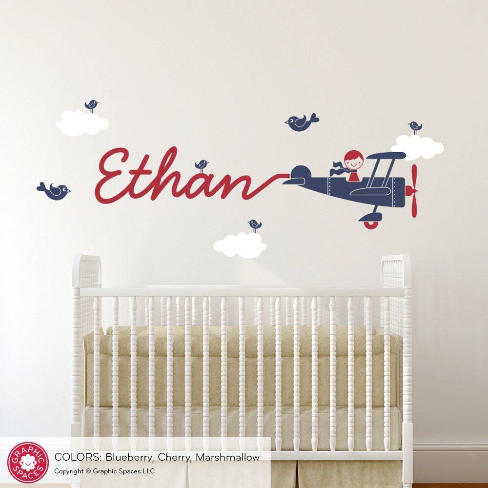 Airplane Wall Decal Boy Name Skywriter Kids Baby Nursery Personalized Cursive Script Travel Room Theme by  sc 1 st  Pinterest & Airplane Wall Decal Boy Name Skywriter Kids Baby Nursery ...