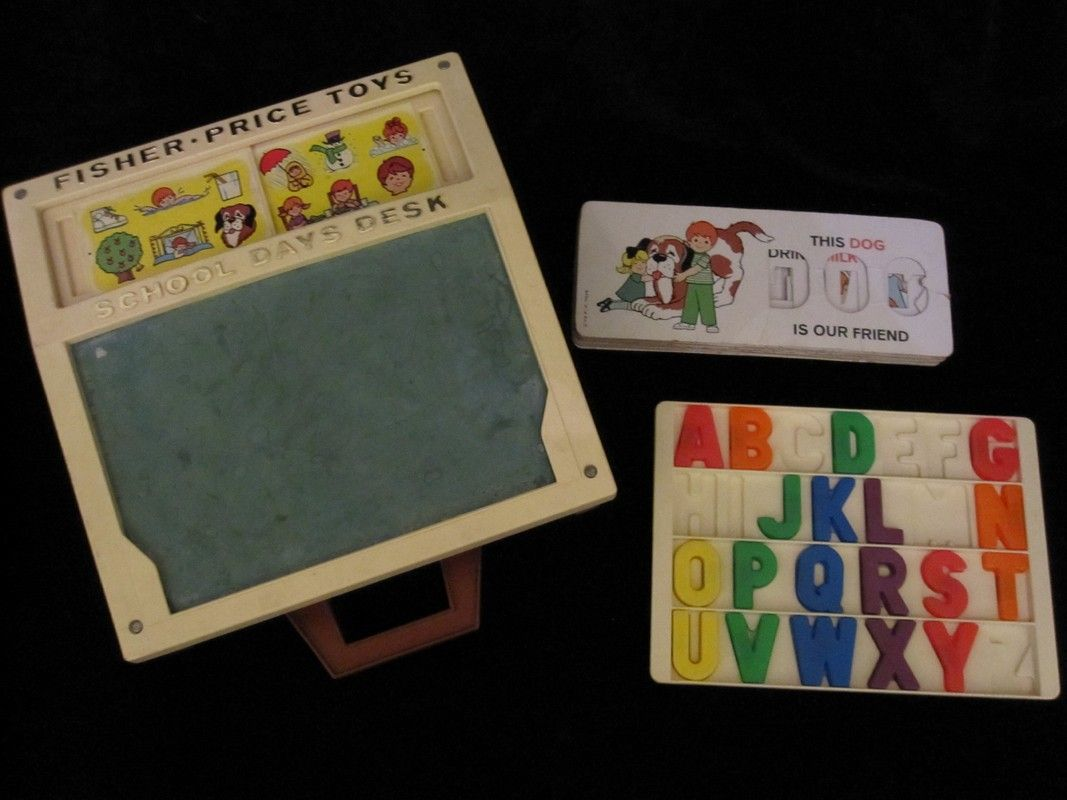 Vintage Fisher Price Toys School Days Desk With Accessories And Twenty One English And French Vintage Fisher Price Toys Fisher Price Toys Vintage Fisher Price