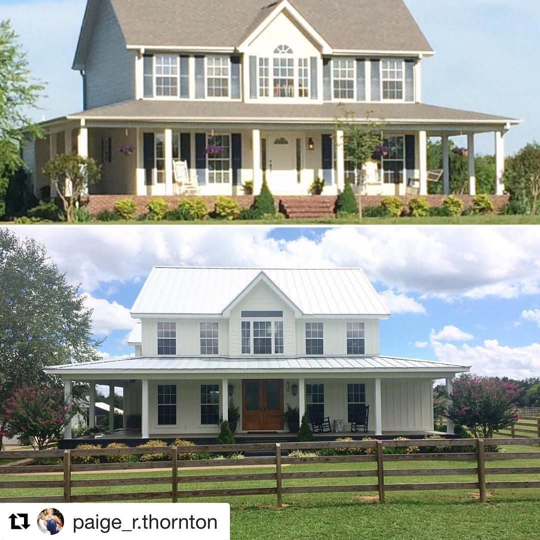 Renovated Farmhouse Before And After Modern Farmhouse Before And After Outdoor House Roof