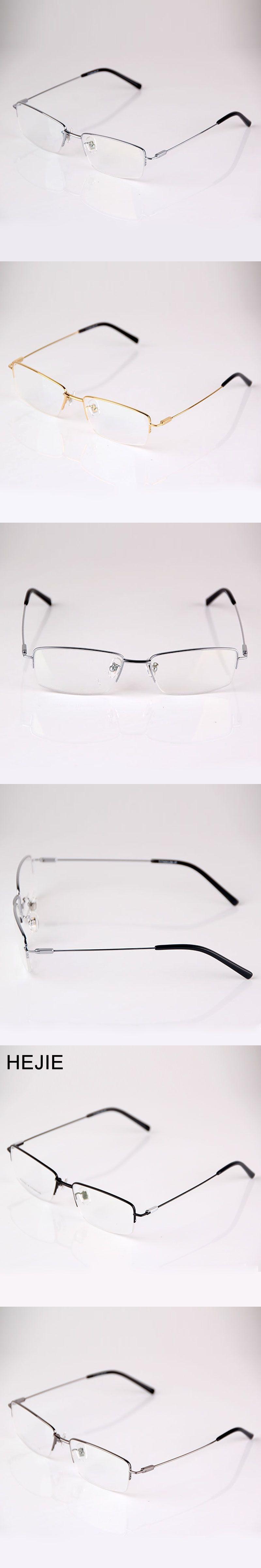12df8b873183 HEJIE Grade Men Pure Titanium Eyeglasses Frames Brand Half Rim Clear Lens Optical  Glasses Frames For