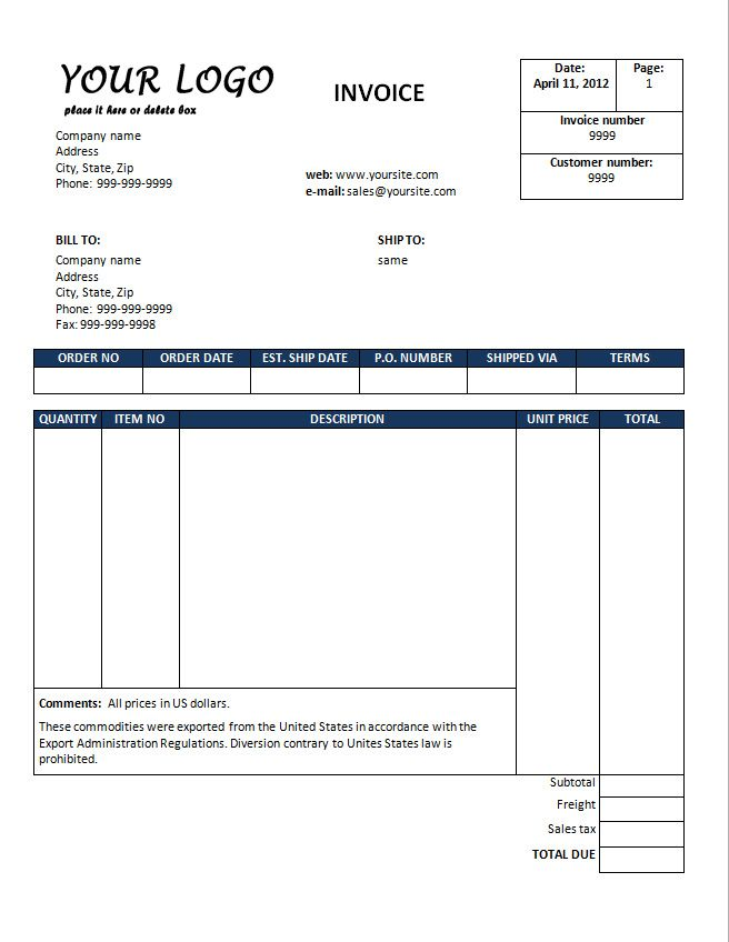 Free Invoice Template Downloads Download sales invoice template - sample freelance invoice