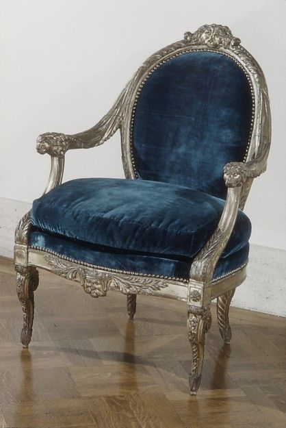 Armchair Date: 18th century Culture: British Medium: Carved and gilded pearwood, blue velvet upholstery
