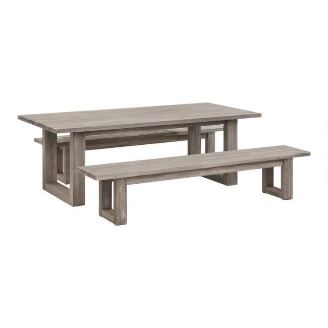 Graywashed Eucalyptus Marciana Outdoor Dining Collection Outdoor