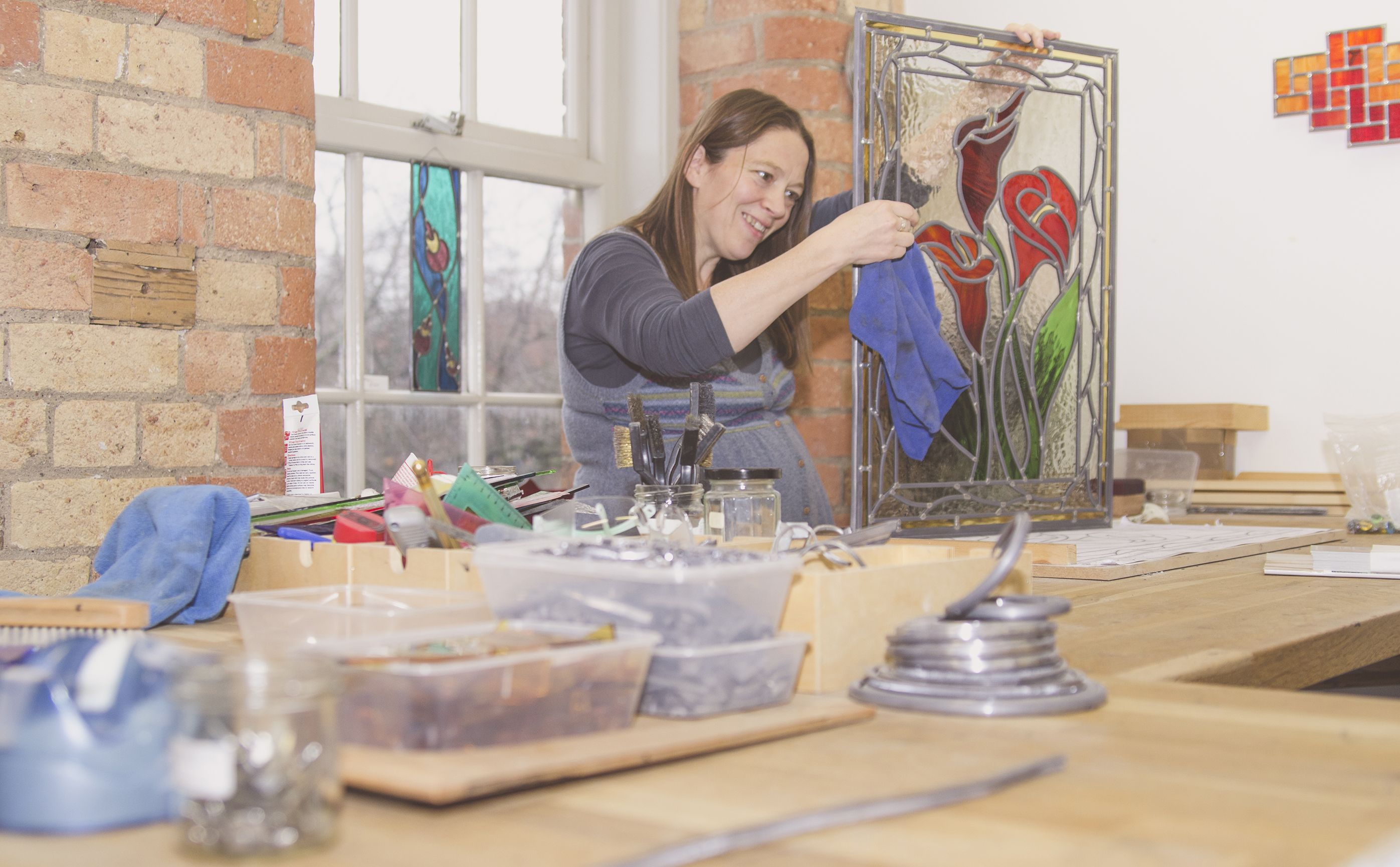 OS 2014 - Lyanne McCredie, stained glass artist studio.  Photography by Leon William Vann