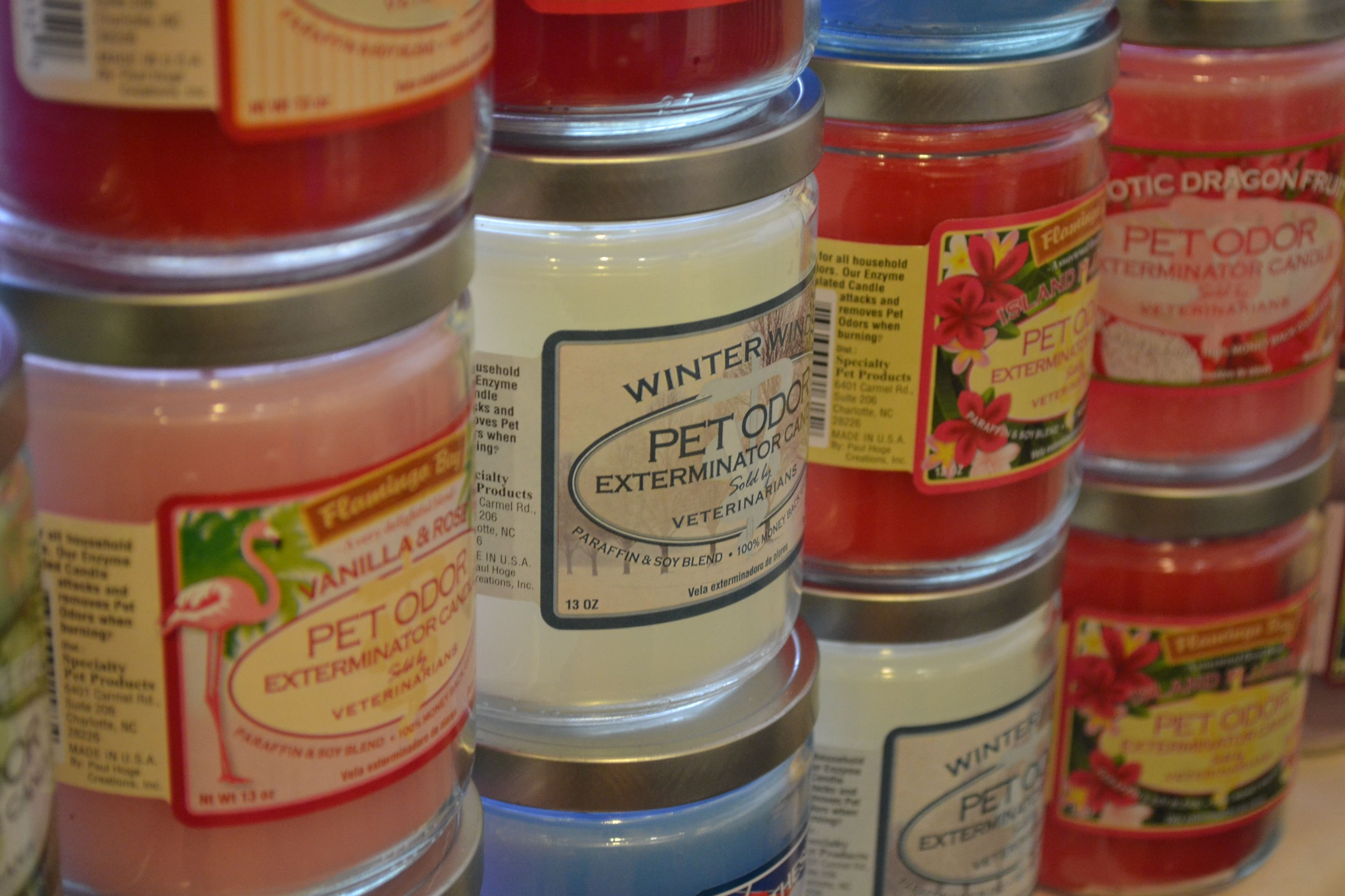 These Pet Odor candles are the best! We carry many