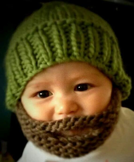 Hand Knitted Beard-dude Beanie Hat with beard attached - baby size. 2453e6fdac8