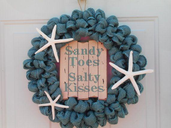 Beach wreath Seashore wreath Nautical wreath by ChloesCraftCloset
