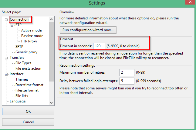 Modify Timeout Interval For Filezilla Ftp Client Coding Informative Intervals