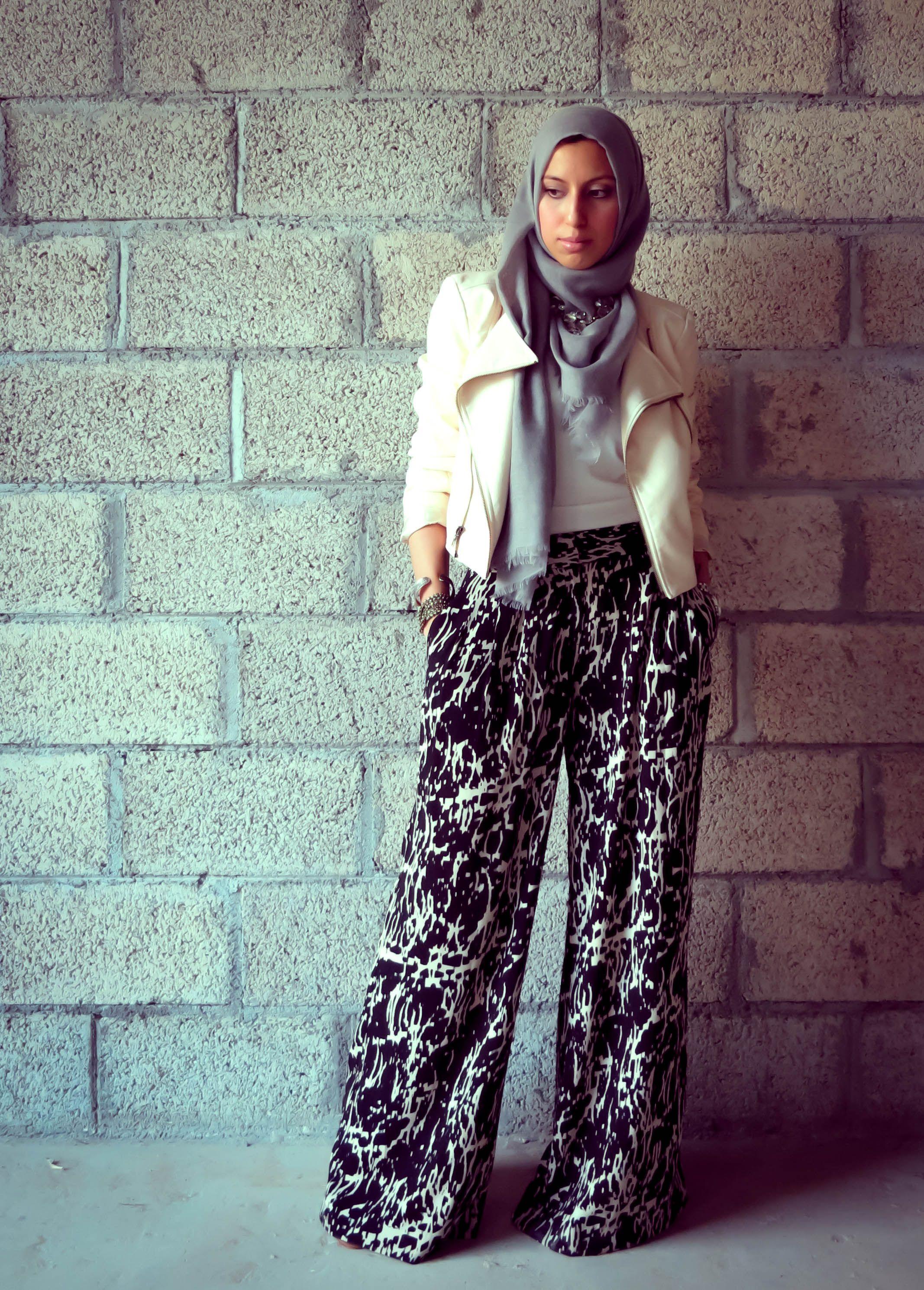 Leather jacket hijab - Love These Tribal Palazzo Pants And Blush Pink Leather Biker Jacket