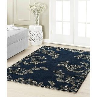 Laura Ashley Winchester Plush Knit 22 X 56 Accent Rug 1 8 X 5 Navy Blue Beige Area Rugs Durable Carpet
