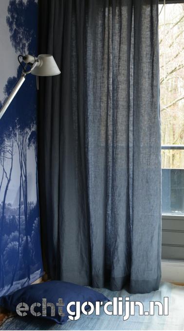Detail | echt blauwe gordijnen | Pinterest