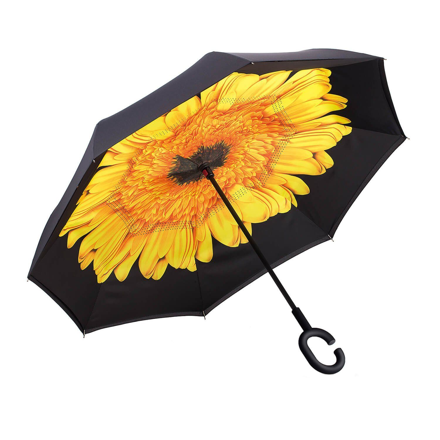 Pink Flower Double Layer Inverted Windproof Umbrella UV Protect C-Shape Handle