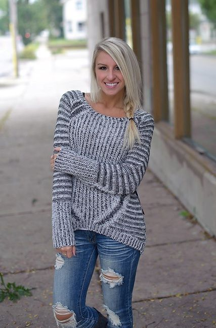 Scoop neck twist yarn black and ivory stripe combo high low sweater.
