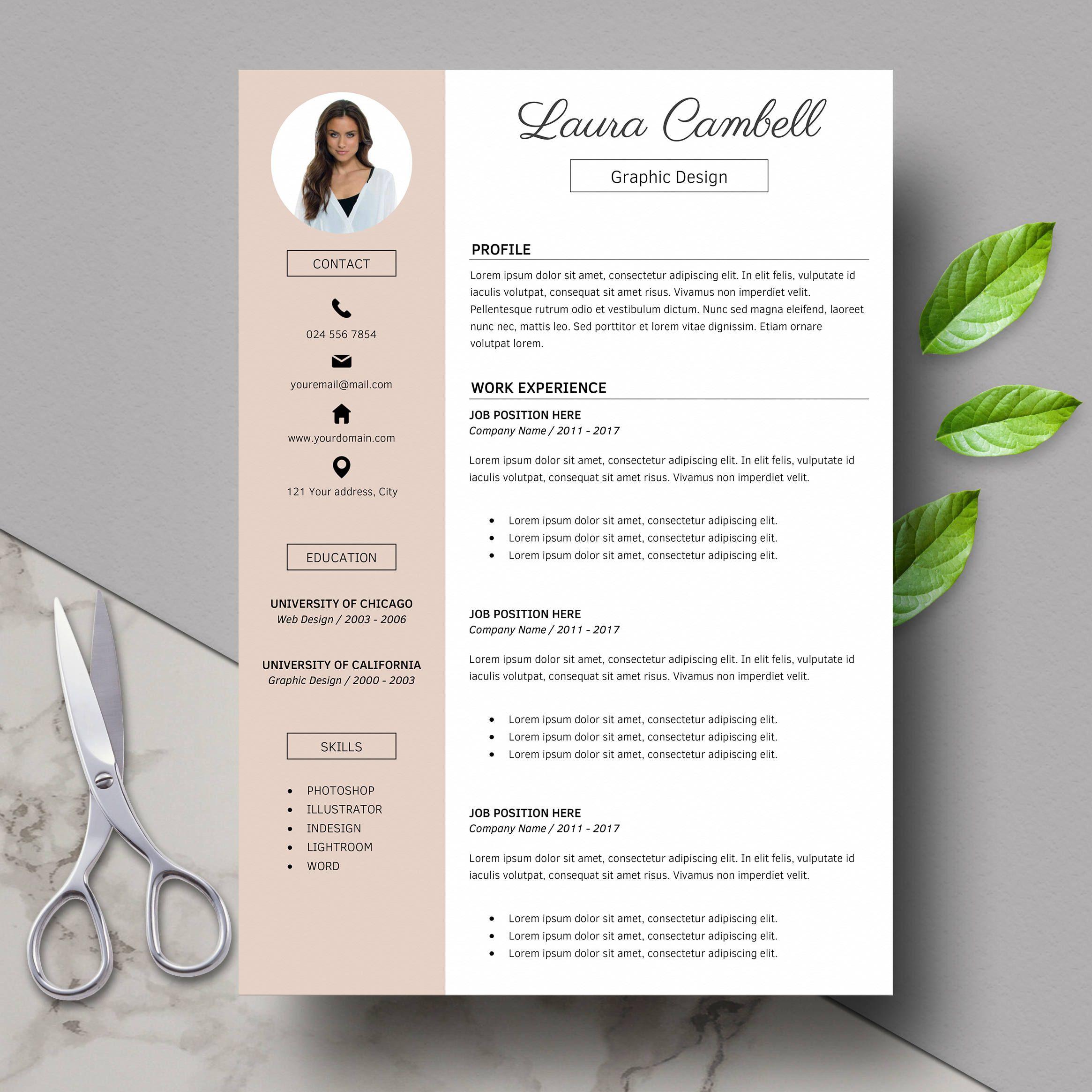 Modern Resume Template, CV Template for Word, Cover Letter ...