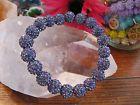 "New 8"" Tanzanite Lilac Shimmer Stack Cuff Shamballa Crystal Ball Rustic Bracelet"
