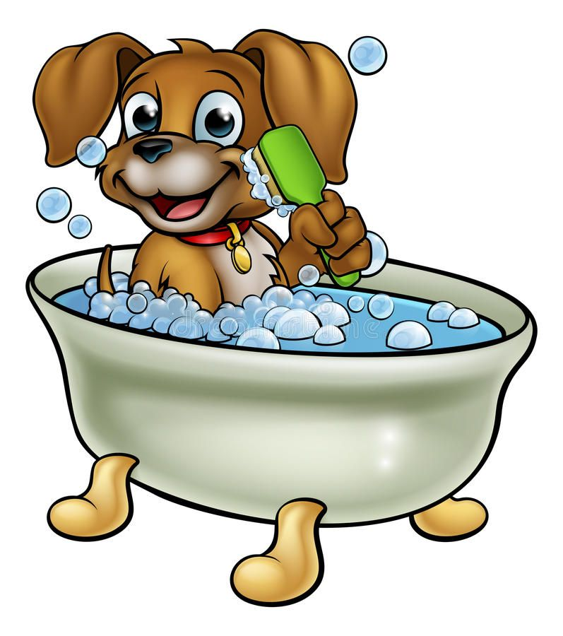 Cartoon Dog In The Bath A Cartoon Dog Having A Bath With A