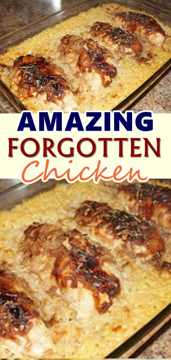AMAZING FORGOTTEN CHICKEN You may be wondering why it is called Forgotten Chicken. Well, that is because, if you forget it is in the oven, chances are, it is still good. You can throw this together, put it in the oven, and walk away for a while...