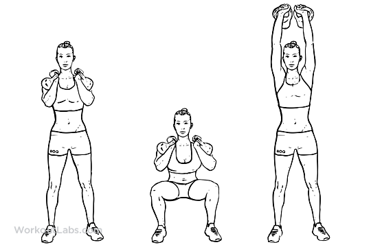 Kettlebell Thruster / Squat to Clean to Overhead Press