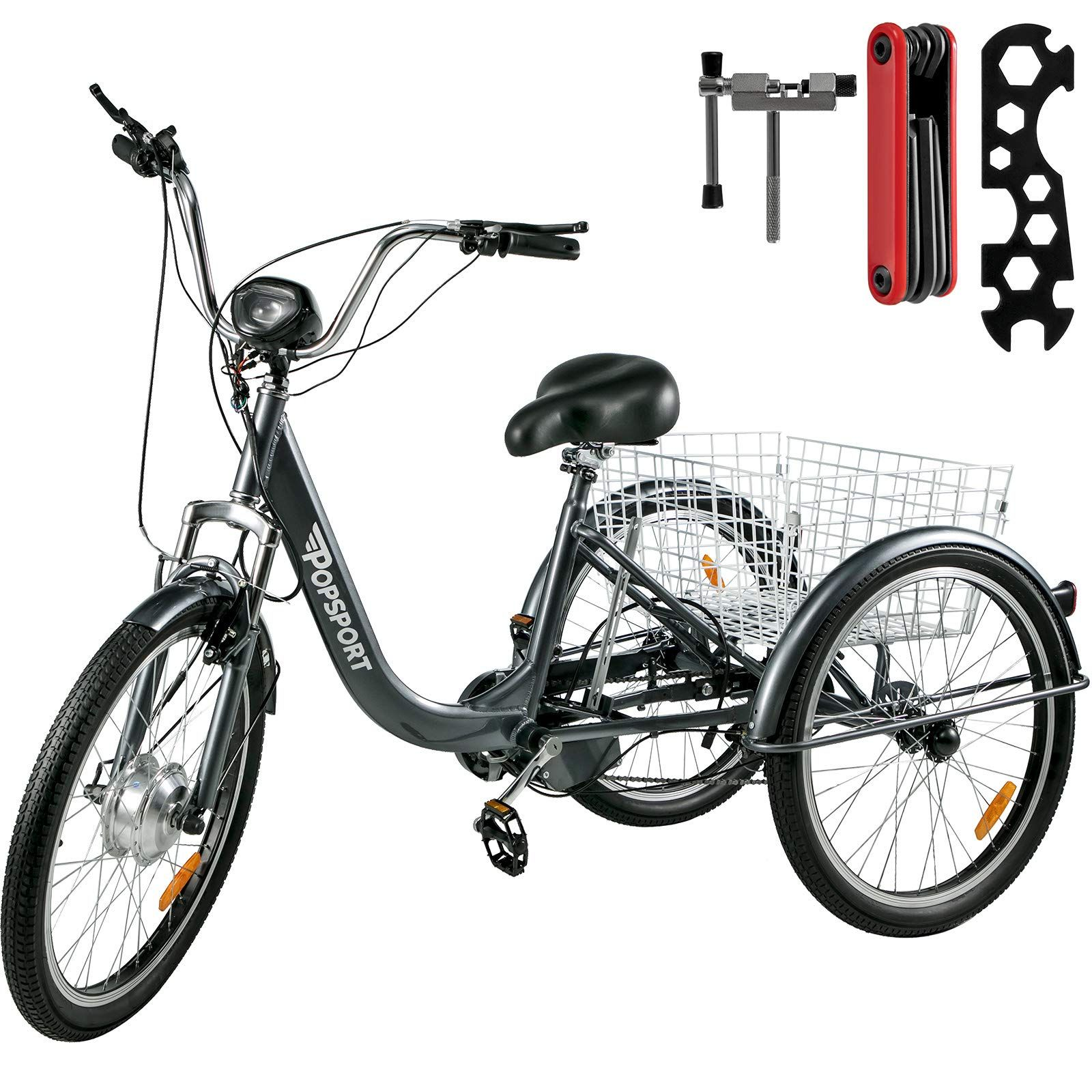 Mophorn Adult Electric Motorized Trike 7 Speed Tricycle