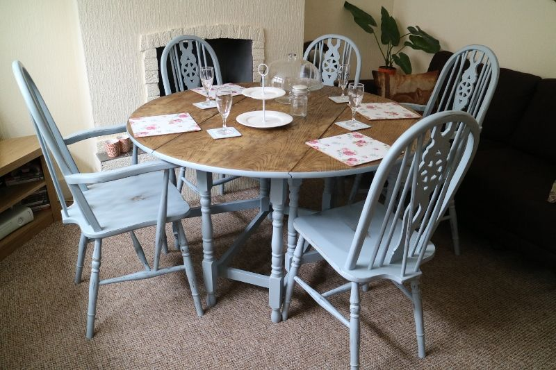 Farmhouse Shabby Chic Drop Leaf Table And 5 Chairs TableNottinghamDining