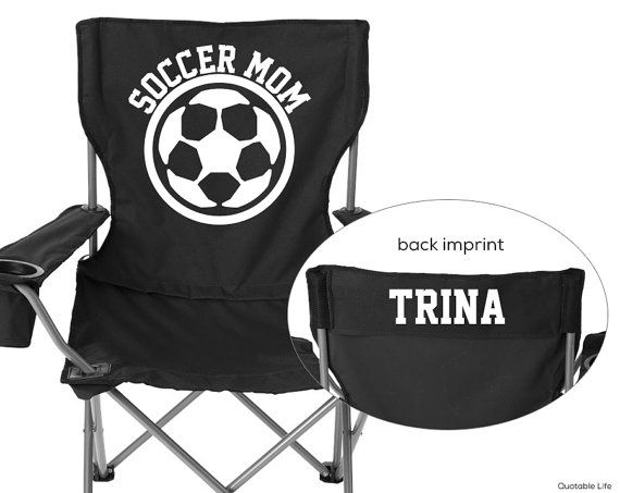 Personalized Folding Chair Soccer Mom Solid By Quotablelife