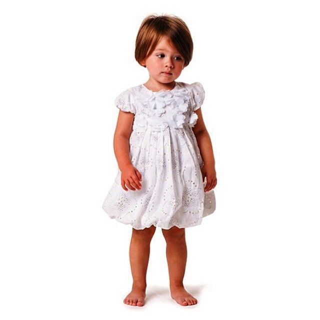 Beautiflully printed silver dotted flowers on white bubble dress with 3D flower applique at top with button opening back!!! #colibribebe #ootd #toddler #dress #couture #girl #beautiful #cute #newarrivals #musthave