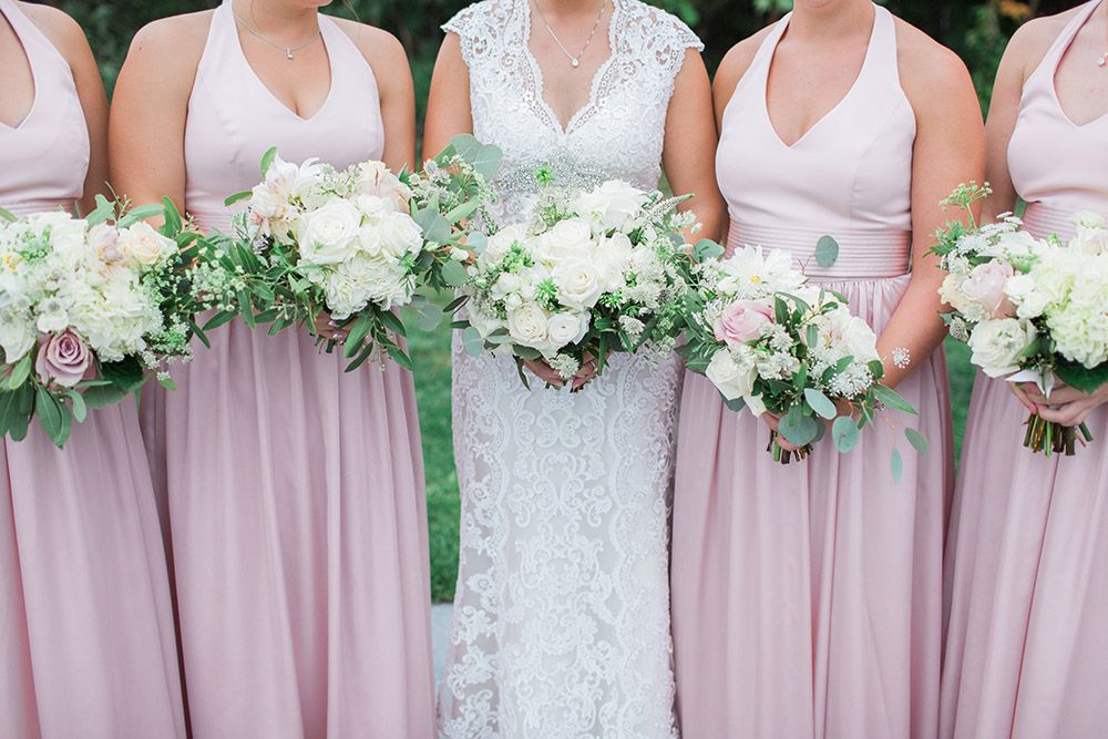 Romantic wedding bouquets at the Woodcliff Hotel. #stacykfloral #weddingbouquets #bridesbouquet #bridesmaidbouquets