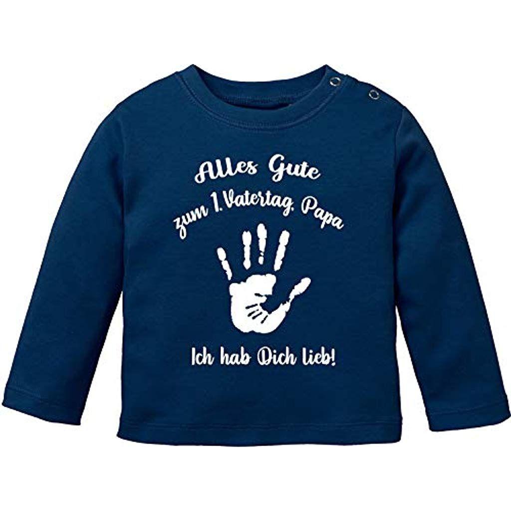 Vatertag Vatertagsgeschenk T-Shirt Langarm Baby Bio Baumwolle EZYshirt/® Alles Gute zum 1