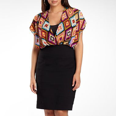nicole By Nicole Miller Print Panel Dress-Plus Sizes ...
