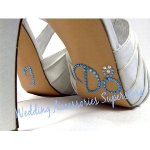 """Let your shoes say """"I Do"""" for you with our engagement ring style! These adorable clear and light blue rhinestone I Do stickers are self-adhesive and can be easily attached to the sole of your wedding shoes, toasting glasses, and other bridal accessories."""