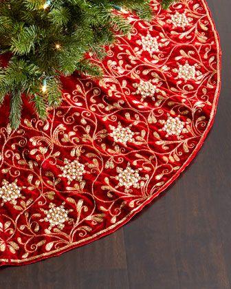 Velvet Christmas Tree Skirt By Sudha Pennathur At Horchow
