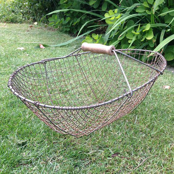 Allotment Garden Veg Vintage Style Grey Wire Harvest Basket Trug LARGE