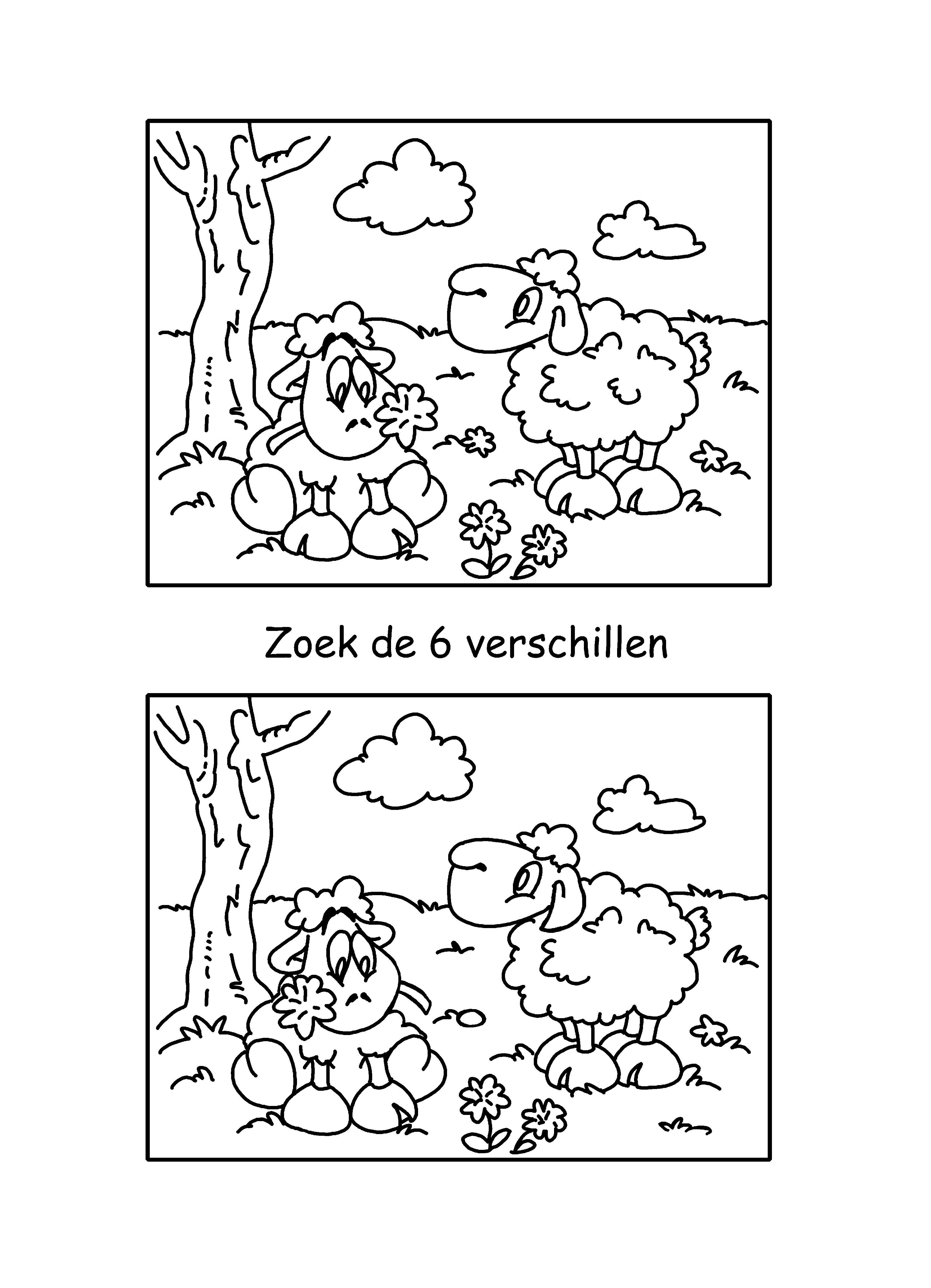 Zoek De 6 Verschillen Boerderij Knutselen Kleuterschool Werkbladen Schapen