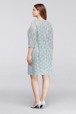 Allover Sequin Lace Plus Size Short Jacket Dress Style 9530wwp