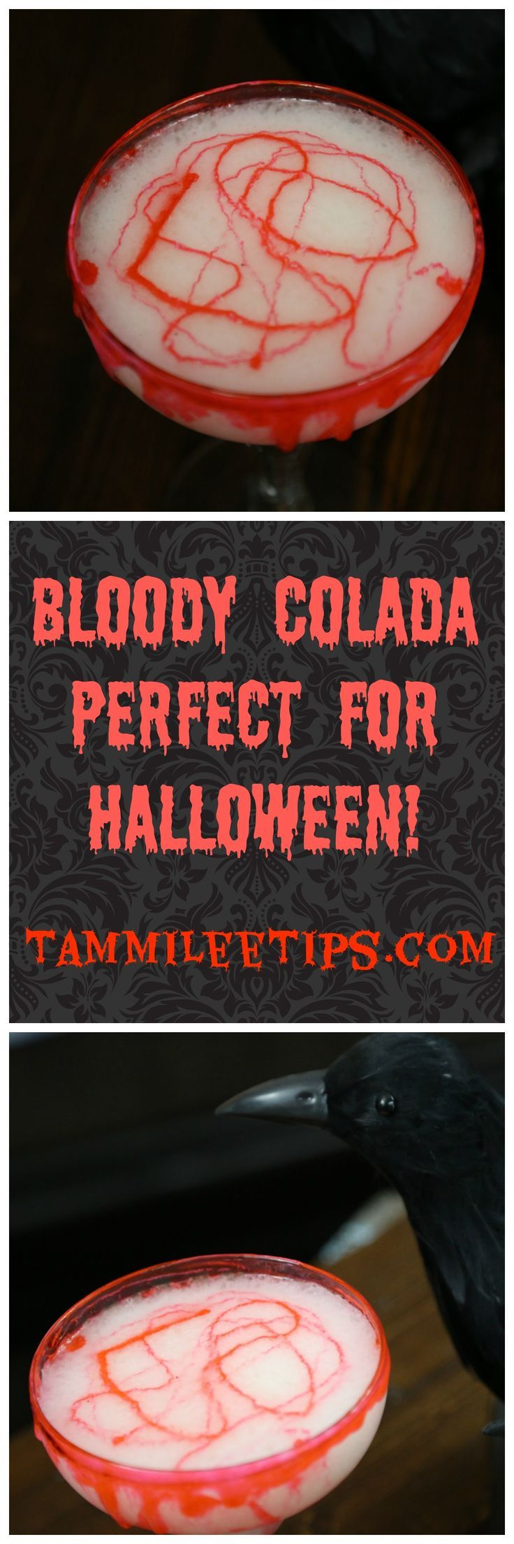 Your Halloween Cocktail Recipes need to include this Bloody Colada Recipe!  Easy to make! Perfect for a party or a crowd! Simple, Spooky, Fun that is perfect for Halloween! Easily made with alcoholic or non-alcoholic depending on your event!