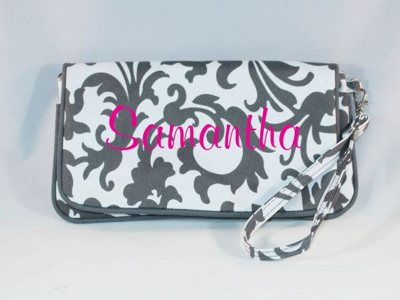 Personalized Wristlet Wallet Bridesmaid Gift Gray Fl Monogrammed For Her Mother