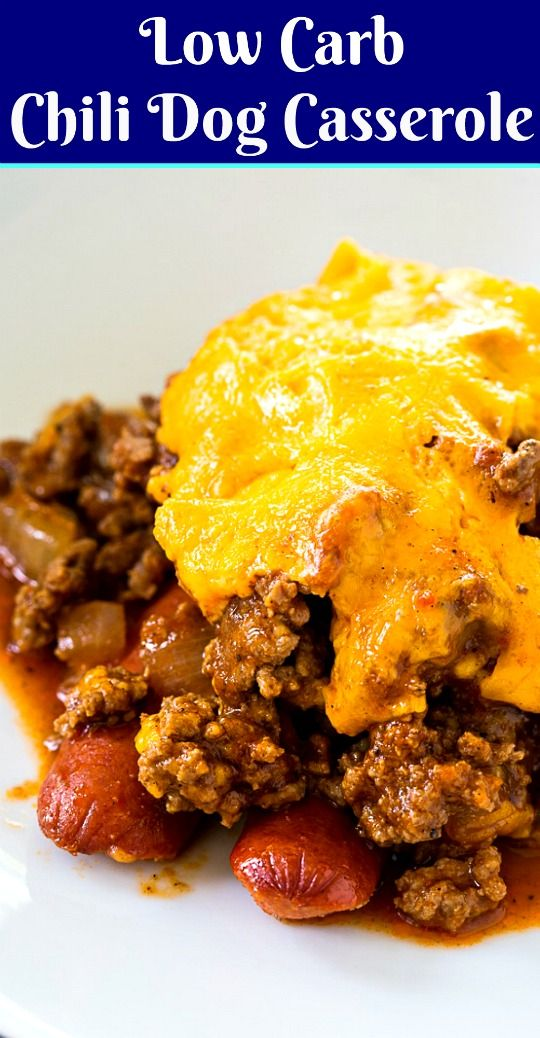 Photo of Low Carb Chili Dog Casserole covered with cheese #keto #lowcarb #casserole