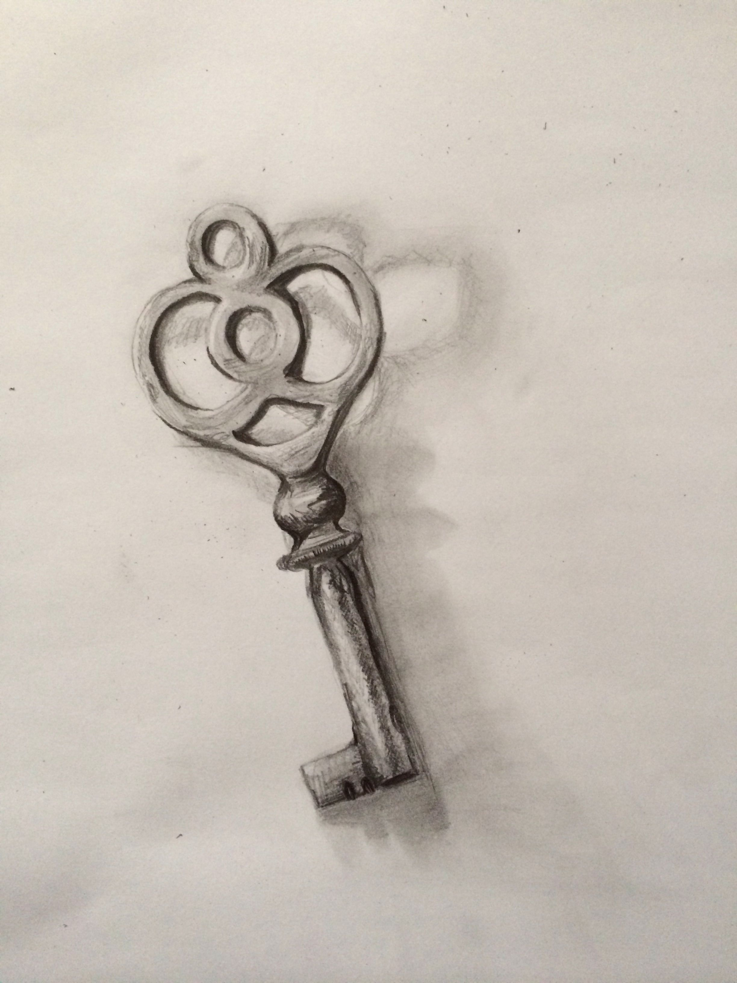 Pencil drawing of a key