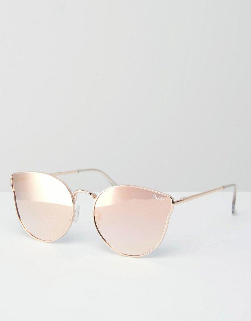 Image 1 - Quay Australia - All My Love - Lunettes de soleil yeux de chat en  métal or rose avec verres plats effet miroir 4539d72d36b9
