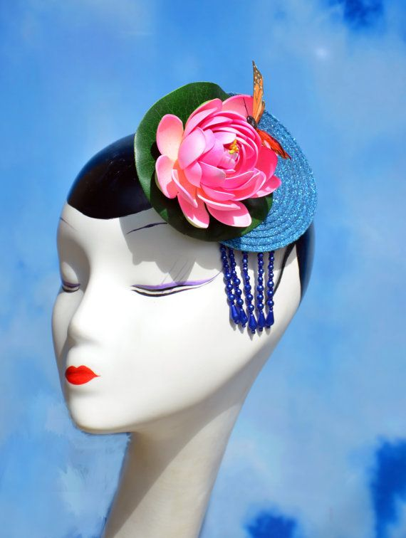 Glitter Lotus Water Lily Fascinator Hat with by FabHatters on Etsy ... 4c20fb28d00